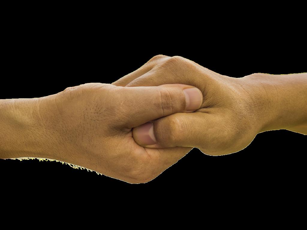 two hands interlocked